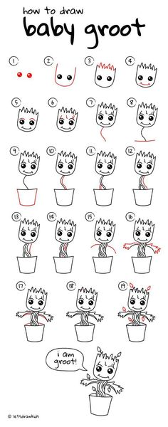 How to draw Baby Groot (baby plant). Easy drawing, step by step directions from an easy to follow YouTube video.