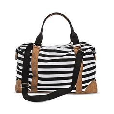 Merona Women's Striped Canvas Weekender Handbag (115 BRL) ❤ liked on Polyvore featuring bags, carry-ons & totes, white, canvas tote bags, weekender bag, white tote bag, canvas weekender bag and weekender tote bag
