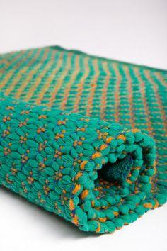 Sea Green Woven Rug Cotton Rug Handmade Rag Rug by HermanTextiles