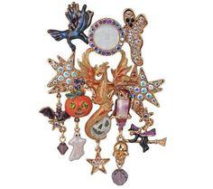 KIRKS FOLLY DRAGON SPIRIT SEAVIEW MOON HALLOWEEN PIN  ENHANCER goldtone #KirksFolly
