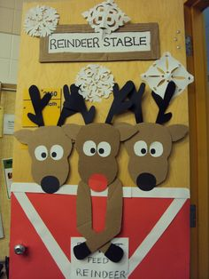 DIY Reindeer Door. Would be cute to do upstairs