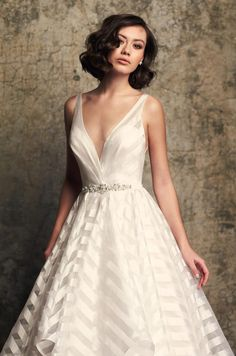 Whimsical Striped Organza Wedding Dress - Style #2315 | Mikaella Bridal Wedding Dress Shopping, Bridal Wedding Dresses, Wedding Dress Styles, Designer Wedding Dresses, Wedding Bells, Lace Wedding, Mikaella Bridal, London Bride, Striped Wedding
