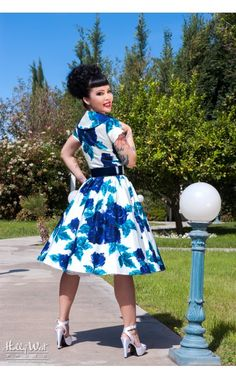 Pin Up Girl Clothing Com Pinup Couture Renee Dress In Dark Blue  Pinup Girl Clothing  Retro
