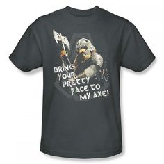 The Lord Of The Rings Gimli With Axe Adult Charcoal Gray T-Shirt from Warner Bros.: This Lord of the Rings… #Movies #Films #DVD Video
