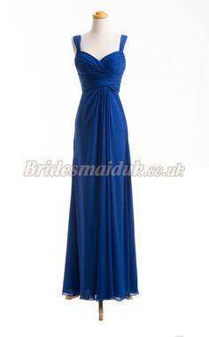 Long Chiffon Bridesmaid Dress in Blue Bridesmaid Dresses