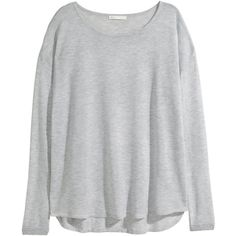H&M Fine-knit jumper (€15) ❤ liked on Polyvore featuring tops, sweaters, shirts, jumpers, blusas, light grey, wide neck sweater, loose fitting shirts, long sleeve tops and shirt sweater