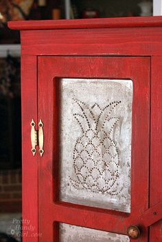 Rustic Red Pie Safe Painted with Miss Mustard Seed Milk Paint - this is what I'll do with my pantry