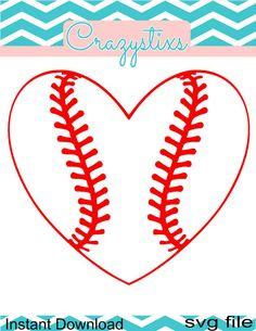 Heart baseball svg child svg svg files for by CrazyStixs on Etsy