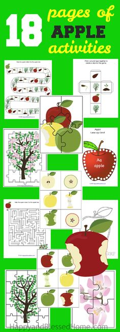 FREE Download 18 Pages of Apple Activities for kids with coloring, puzzles, game board, matching cards and more. Perfect Fall activity pack for preschool aged children, kindergarten and first grade, Great tool for crafts and teaching. FREE worksheets.