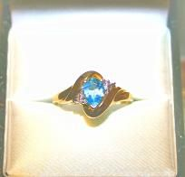 BRAND NEW BLUE TOPAZ AND GENUINE DIAMONDS SET IN SOLID 10K GOLD RING-FREE SHIPPING  $90.00.. make a offer on this sweet ring, you never know how low i`ll go!!