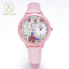 cool MISS KEKE Kids Watches 3D Clay Rabbit Flowers Watch Children Pink Creative Ladies Watches Quartz Wristwatches Christmas Gifts