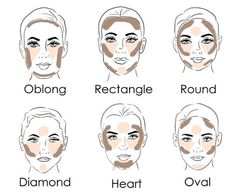 Makeup For Oval Face Shape, Eyebrows For Oval Face, Square Face Makeup, Makeup For Round Eyes, Contour Heart Shaped Face, Face Shape Contour, Contour For Round Face, Heart Shape Face, Contour Square Face