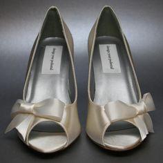 Wedding Shoes -- Ivory Peeptoe Wedges with Off-Center Ivory Bow on Etsy, $181.34 AUD