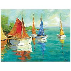 30x40 The sun is gleaming off the water and a team of picturesque boats with colorful sails wait to drift you away. This romantic thought is found in the beautiful and vivid Island Boats I Wall Art.