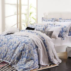 Japanese Floral Sky Blue Quilt Cover
