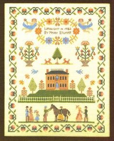 HOUSE On STRAWBERRY HILL Stamped Cross Stitch Kit Linen Colonial Historical by NeedleLittleTherapy on Etsy Strawberry Hill, Crewel Embroidery Kits, Vintage Cross Stitches, Infancy, Linen Pillows, Cross Stitch Kits, Pansies, One Pic, Colonial