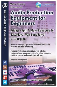 Home recording is a great and affordable way to turn your musical ideas into reality This class for beginners introduces you into the equipment and resources required to set up your own studio so you can make music that will last. Registration required