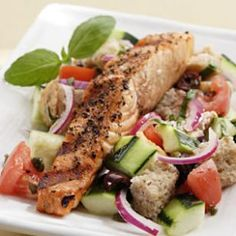 Salmon Panzanella    This traditional Italian bread salad is full of tomatoes and cucumber and gets a protein boost with the addition of grilled salmon.
