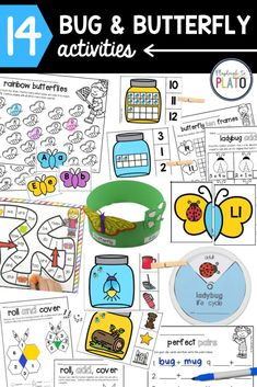 These 14 must-have activities will keep preschoolers and kindergarteners learning and engaged for weeks. Practice alphabet letters, sight words, numbers, addition, writing, learn about the butterfly life cycle and so. much. more. Perfect to go along with a bug unit in the sprintime! #centeractivities #bugunit #phonics #mathgames Bug Activities, Learning Activities, Teacher Valentine, Valentine Gifts, Playdough To Plato, Butterfly Life Cycle, Butterfly Frame, Learning The Alphabet, Sight Words