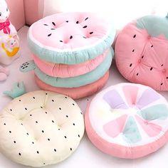Fruits Kawaii, Kawaii Bedroom, Cute Furniture, Cute Room Decor, Pastel Room Decor, Cute Pillows, Cute Cushions, Chair Pads, Plushies