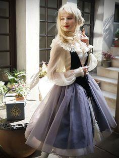 Gothic Lolita Vestido JSK Organza plisado Botones Decor Halter Negro Lolita Jumper Falda-No.4