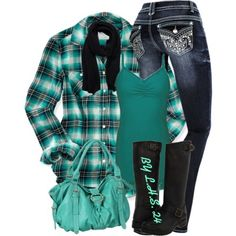 Green, Gray, Black and White   Jeans and Boots   Plaid