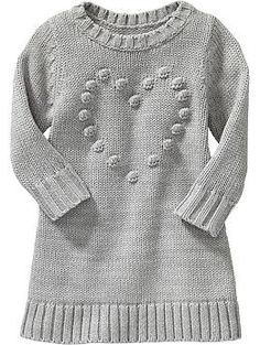Popcorn-Heart Sweater Dresses for Baby Old Navy Toddler Girl, Toddler Girl Dresses, Little Girl Dresses, Toddler Outfits, Kids Outfits, Toddler Sweater Dress, Knit Baby Dress, Sweater Dresses, Kids Knitting Patterns