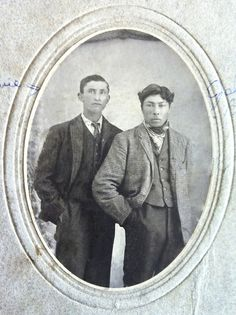 Frederick Ermineskin of Hobbema, Alberta chose the surname of his adoptive father Peter Ballendine, because he admired the Scottish fur trader. Frederick moved to Saskatchewan and married a local Metis girl named Sophie Gardiner Cardinal. They had two sons: James, born in 1882; and John, born on August 9, 1883. John, shown here on the right with an unknown friend, was a handsome lad, and looked very dapper in this early photograph.