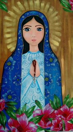 Catholic Art, Religious Art, Blessed Mother Mary, Mary And Jesus, Doll Painting, Illustration, Mexican Folk Art, Sacred Art, Christian Art