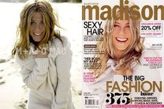 Jennifer Aniston with and without Photoshop for a cover shoot.