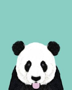 Panda - mint - cute black and white animal portrait, design, illustration, animal cell phone, case, by PetFriendly