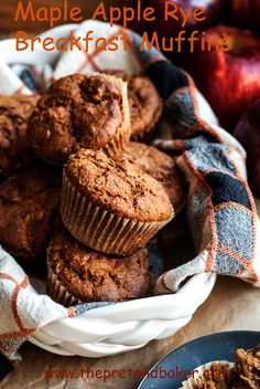 recipe for healthy maple apple rye muffins. Filled with whole grains ...