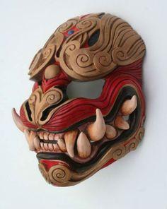 Japanese Demon Oni mask made out of wood and red and brown. Japanese Demon Oni mask made out of wood and red and brown. Hannya Maske, Ronin Samurai, Japanese Mask, Fu Dog, Cool Masks, Masks Art, Mask Design, Prop Design, Japanese Culture