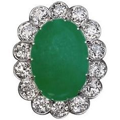 1920s Natural Jade Diamond Gold Cluster Ring