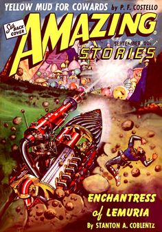 scificovers: Amazing Stories vol 15 no 9 September 1941. Cover by Robert Fuqua illustrating Enchantress of Lemuria.