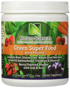 By far the BEST GREENS NUTRITION POWDER I've tried.  Other powders made me feel like I was drinking a glass of grass (bleh!). Not the case with this Organic Greens Super Food powder. Don't be turned off by the color - the powder HAS A BERRY FLAVOR, and works well with juices, or even water. ~Greens Super Food By Naturo Sciences - Complete Raw Whole Foods Nutrition - Powerful Antioxidants - Vitamins & Minerals. Amazing Berry Flavor 8.5oz (240g) 30 Servings