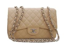 Chanel Beige Quilted Caviar Leather Jumbo Flap Bag Caviar leather 30cm x 20cm x 8.5cm Silver hardware.