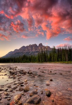Castle Mountain Sunset by Michael James Imagery- Castle Mountain on the Bow River in Banff National Park, Alberta, Canada. Beautiful Sky, Beautiful World, Beautiful Landscapes, Beautiful Places, Vida Natural, Famous Castles, Mountain Sunset, Banff National Park, The Great Outdoors