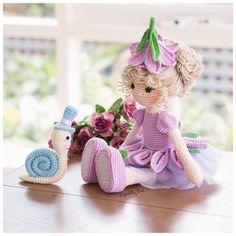 Amigurumi crochet DOLL - Sweet purple flower fairy doll with removable hat Crochet Fairy, Cute Crochet, Crochet Toys, Crochet Dolls Free Patterns, Crochet Doll Pattern, Ballerina Doll, Ballerina Flats, Childrens Gifts, Fairy Dolls
