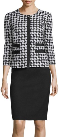 R & K Originals Isabella Long-Sleeve Houndstooth Print Jacket & Skirt Suit Set