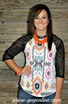 Take It On Back Aztec Baseball Tee with Crochet Sleeves