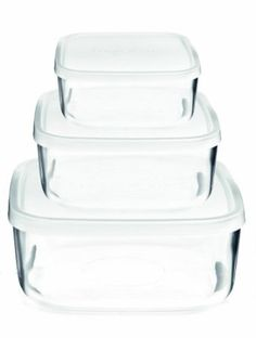 Amazon.com: Bormioli Rocco 388550SB4021990 Frigoverre Square Glass Food-Storage Containers with Lids, Set of 3: Kitchen & Dining $25