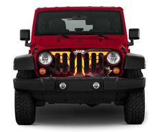 """Jeep Wrangler Grill Wraps are ade using wrap vinyl with a clear protective overlaminate for extra strength and durability. These """"grill wraps"""" are REALLY going to help you stand out from all the rest of the jeep owners out there. Jeep Wrangler Grill, Jeep Grill, Jeep Tj, Jeep Truck, Wrangler Jk, Iron Man Face, American Flag Decal, First Time Driver, Best Car Insurance"""