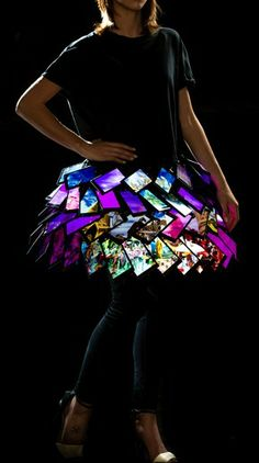 A cutting-edge interactive skirt made up of Lumia 1520 smartphones at London Fashion Week 2014