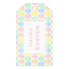Happy Easter | Pastel Colors Easter Eggs Pattern Gift Tags - happy easter egg holiday family diy custom personalize