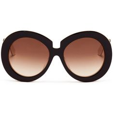 Valentino Oversize round acetate sunglasses (€335) ❤ liked on Polyvore featuring accessories, eyewear, sunglasses, glasses, occhiali, black, oversized round sunglasses, valentino eyewear, round acetate sunglasses and round black glasses