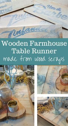This DIY wooden farmhouse table runner was made from wood scraps that used to be wine crates.