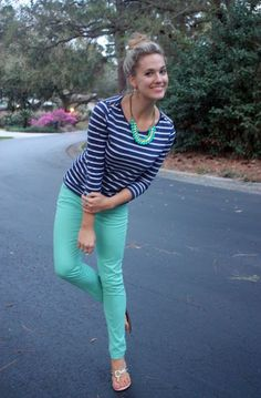 Love the stripes on top and the color combo Pants Turquoise