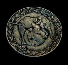 """Hobo Nickel """"Having A Ball"""" Baby Elephant by Howard Thomas   eBay"""