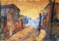 Carlo Carrà (Italian, 1881-1966): The Road Home (La strada di Casa), 1900. Ink and watercolor on cardboard